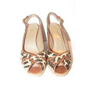 Stuart Weitzman Leopard Leather Cork Wedge Sandals